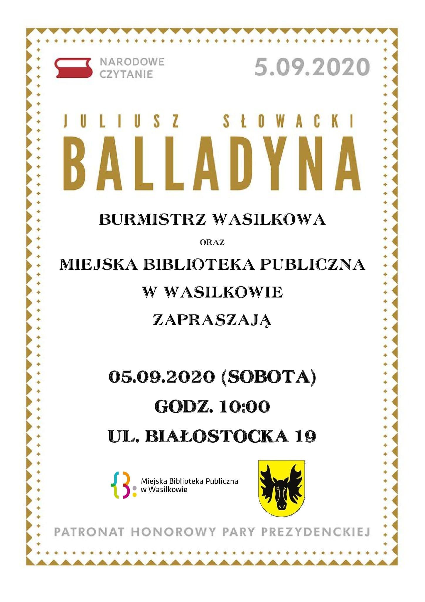 plakat Balladyna - narodowe czytanie - plakat