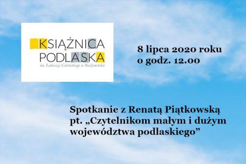 plakat spotkanie z Renatą Piątkowską