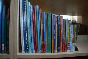 zdjęcie grzbietów książek dla dzieci