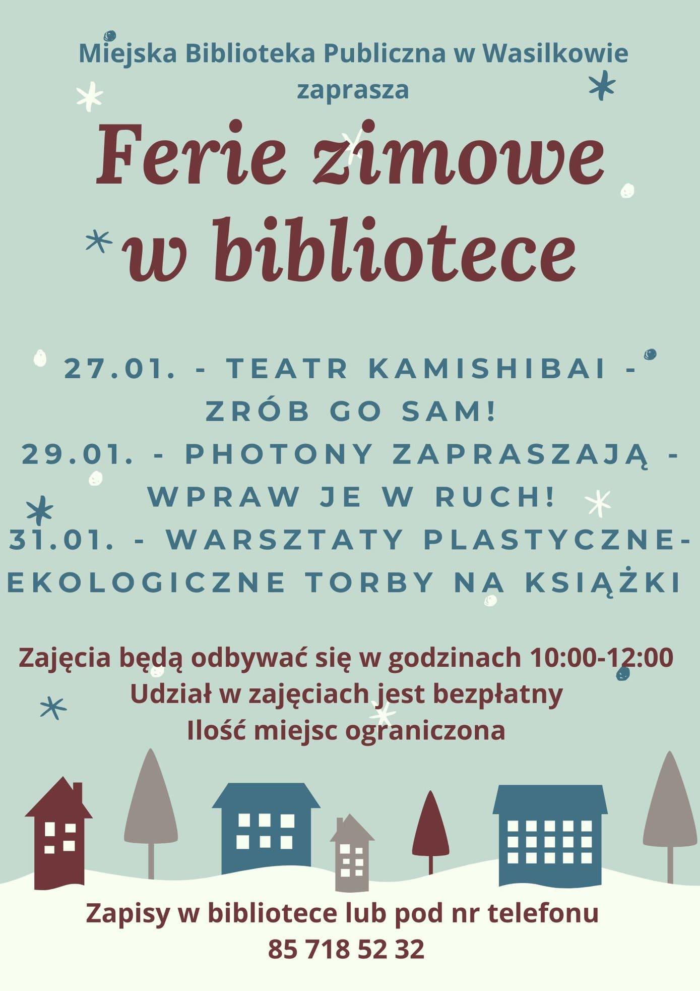 plakat reklamujący ferie zimowe w bibliotece