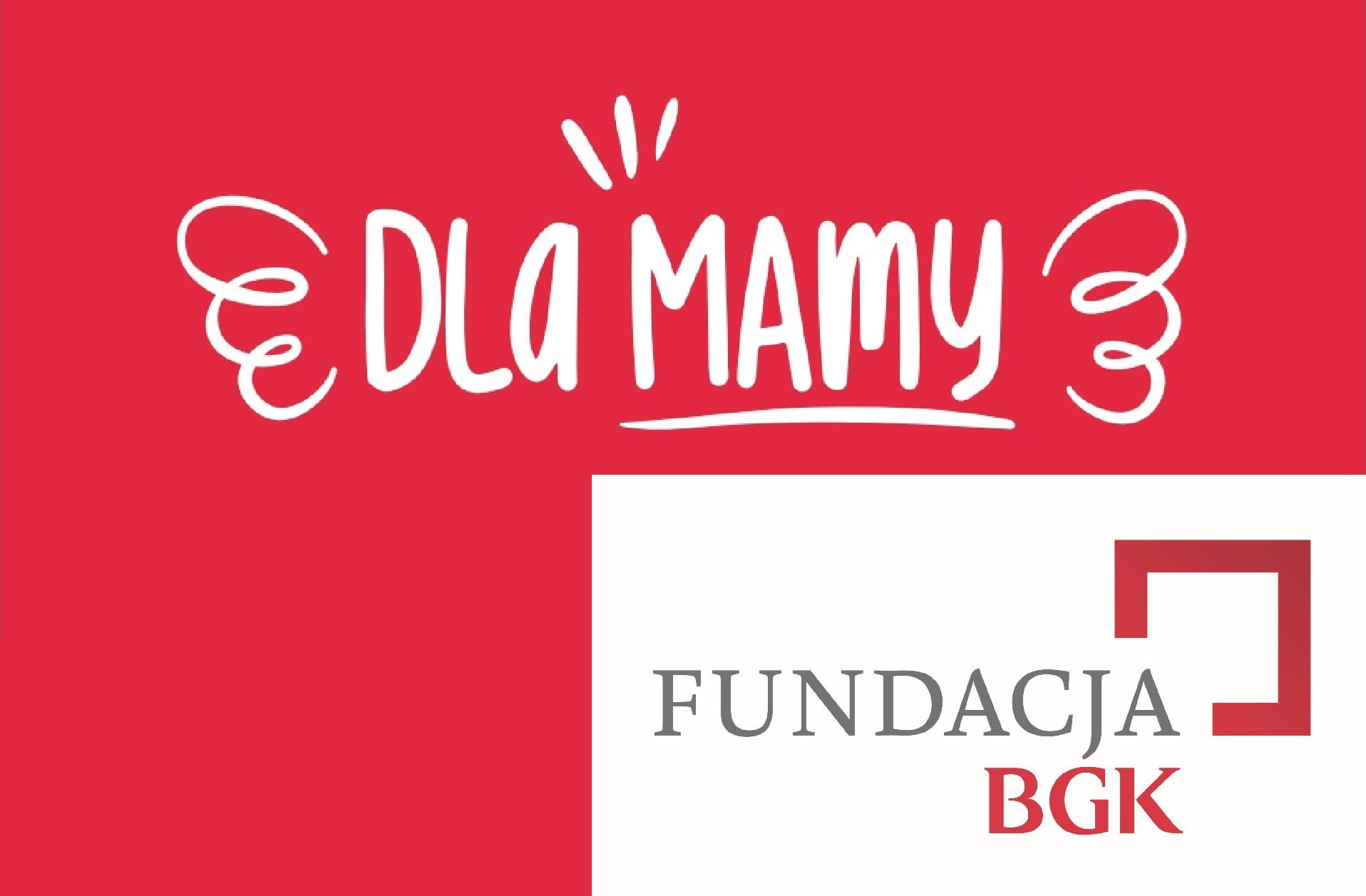 """Logo programu """"Skrzydła dla mamy"""" oraz logo fundacji BGK."""