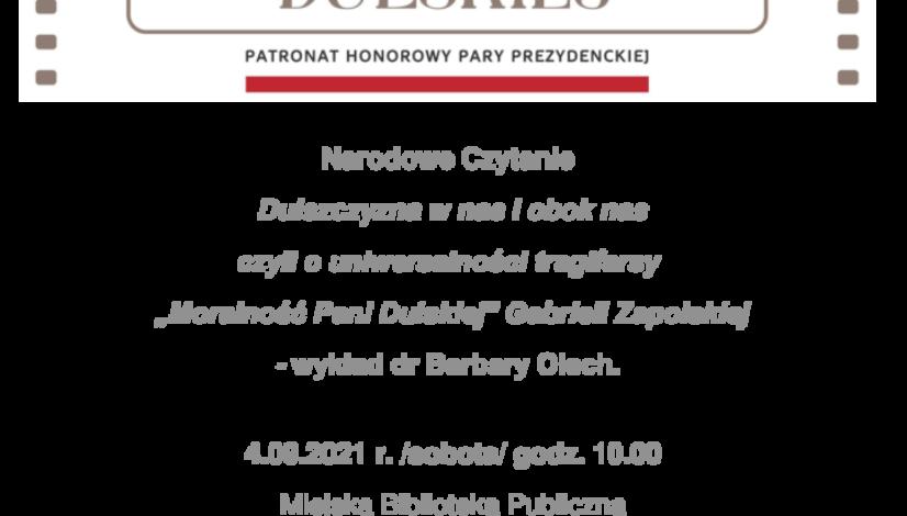 Plakat zapraszający na Narodowe Czytanie 2021 u góry okolicznościowy baner, w środku informacja o wydarzeniu u dołu loga organizatorów