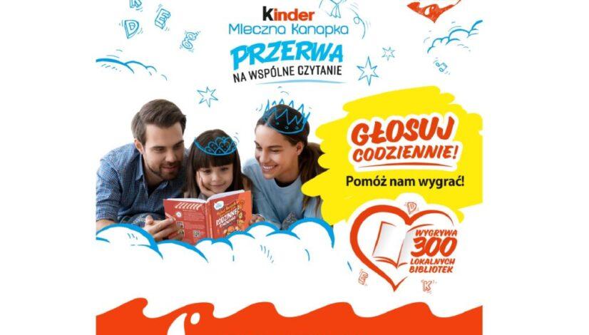 """Plakat promocyjny akcji """"Kinder Mleczna Kanapka. Przerwa na Wspólne Czytanie""""."""